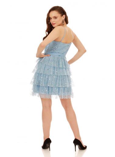 6ixty8ight Mavi Eteği Katlı Tüllü Kısa Abiye Elbise Mavi